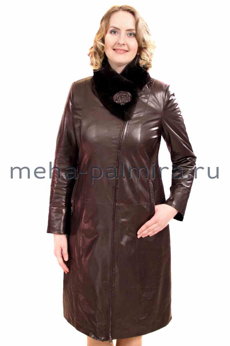 Кожаный плащ утеплённый, воротник-стойка из меха кролика, цвет - коричневый