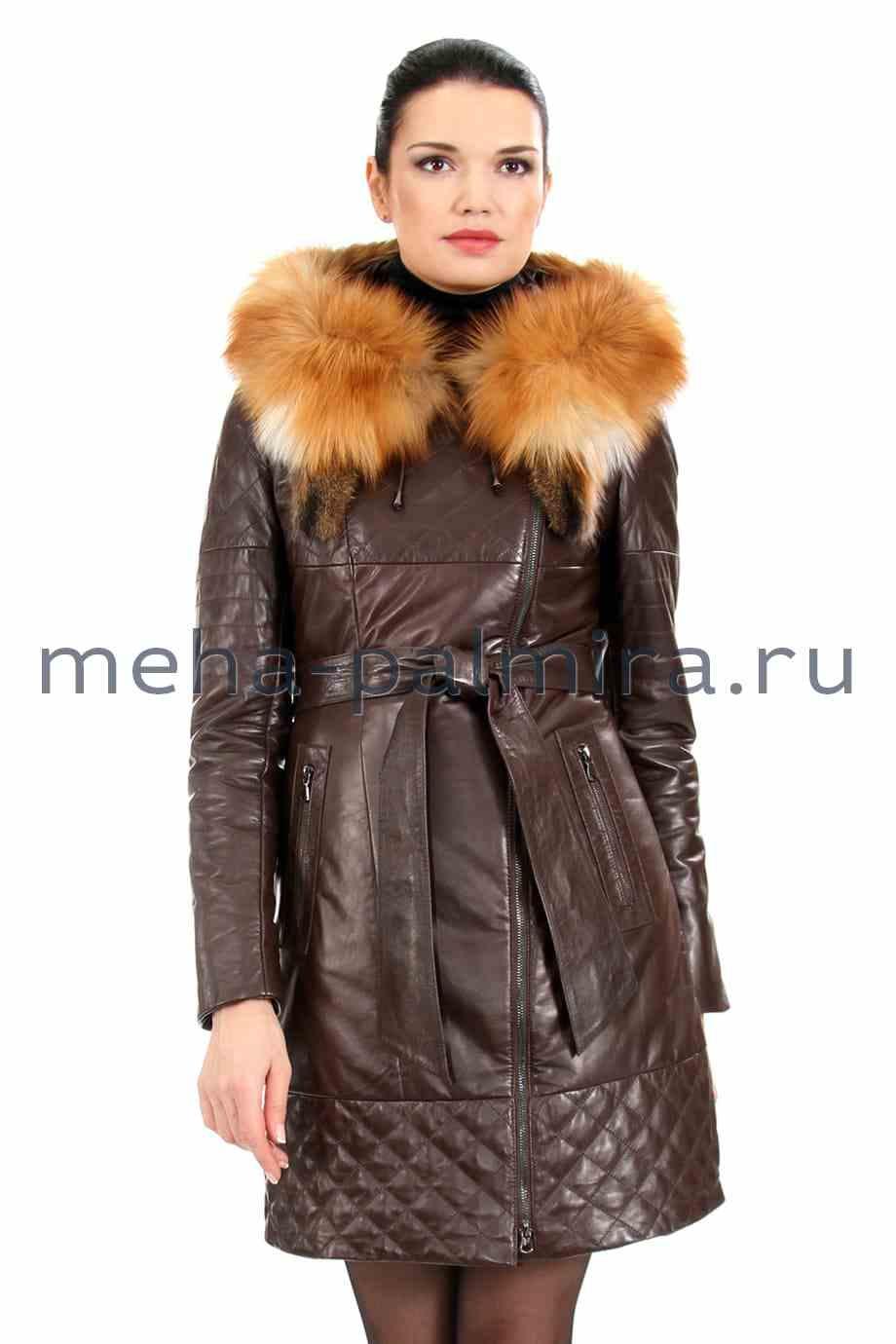 Коричневый кожаный плащ на молнии, с капюшоном с мехом лисы