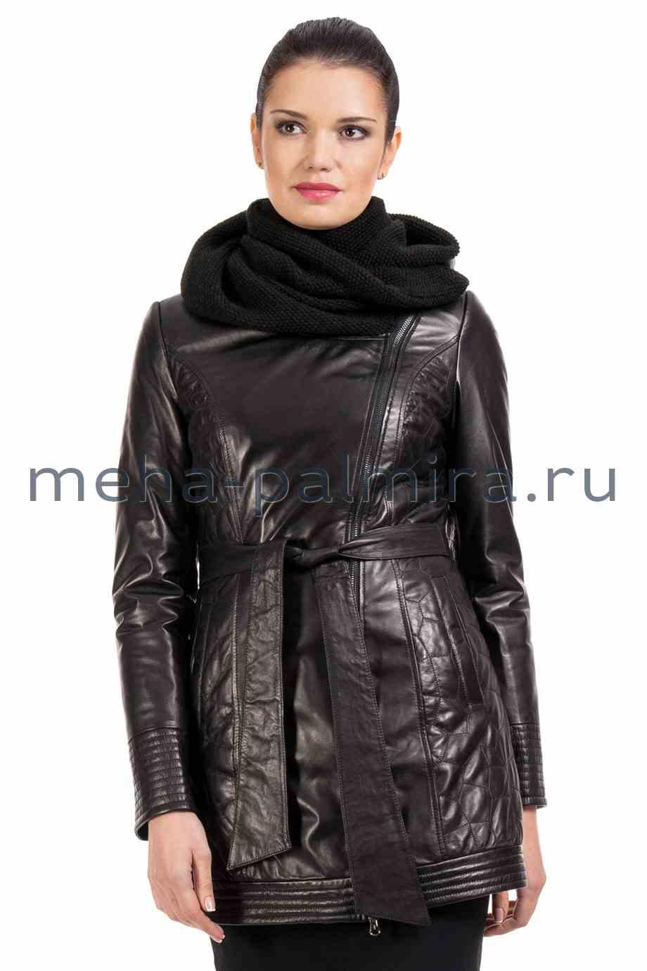 Кожаный френч утеплённый с вязаным капюшоном, цвет черный
