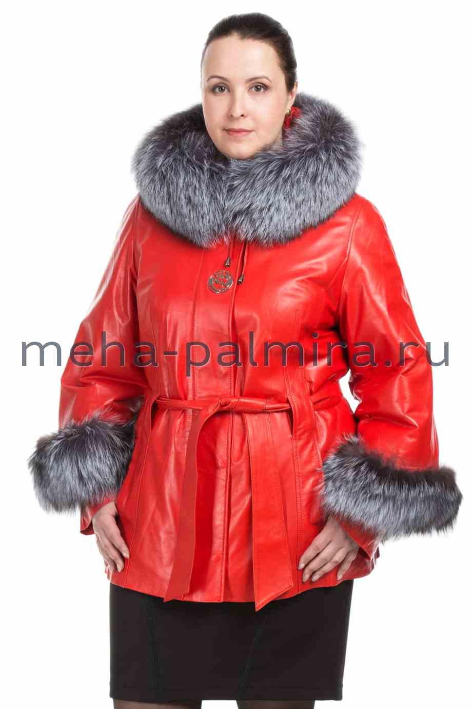 Женская кожаная куртка с капюшоном, цвет коралл, отделка мех чернобурки