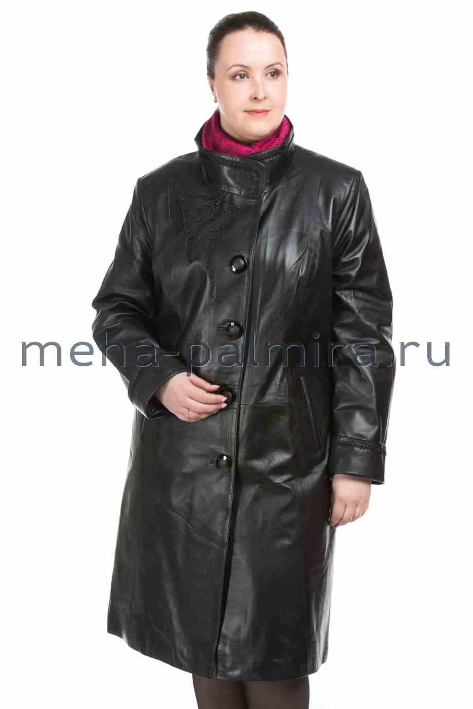 Кожаный плащ на пуговицах черного цвета, большие размеры