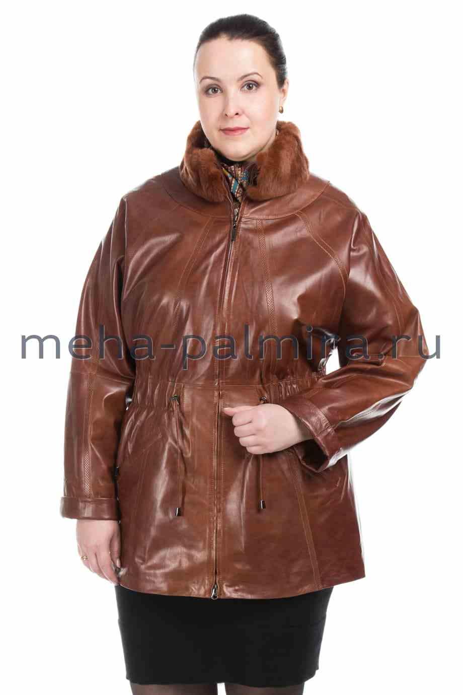 Женская куртка из натуральной кожи с воротником-стойкой из кролика, цвет - виски
