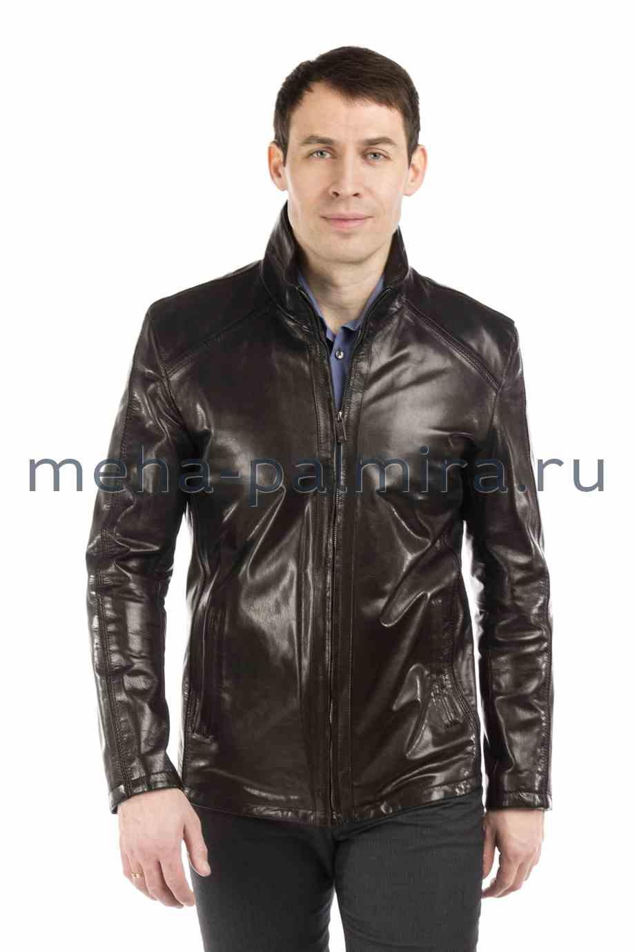 Мужская черная кожаная куртка на молнии, воротник-стойка