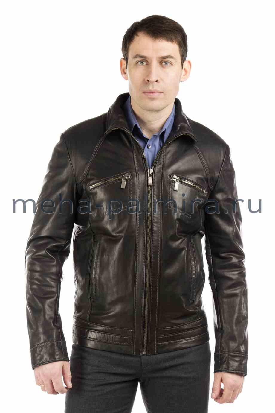 Куртка из натуральной кожи на стойке, цвет темно-серый