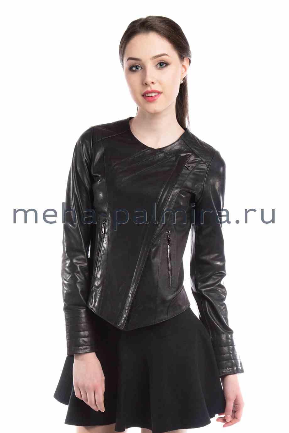 Кожаная куртка косуха , ворот шанель, черная