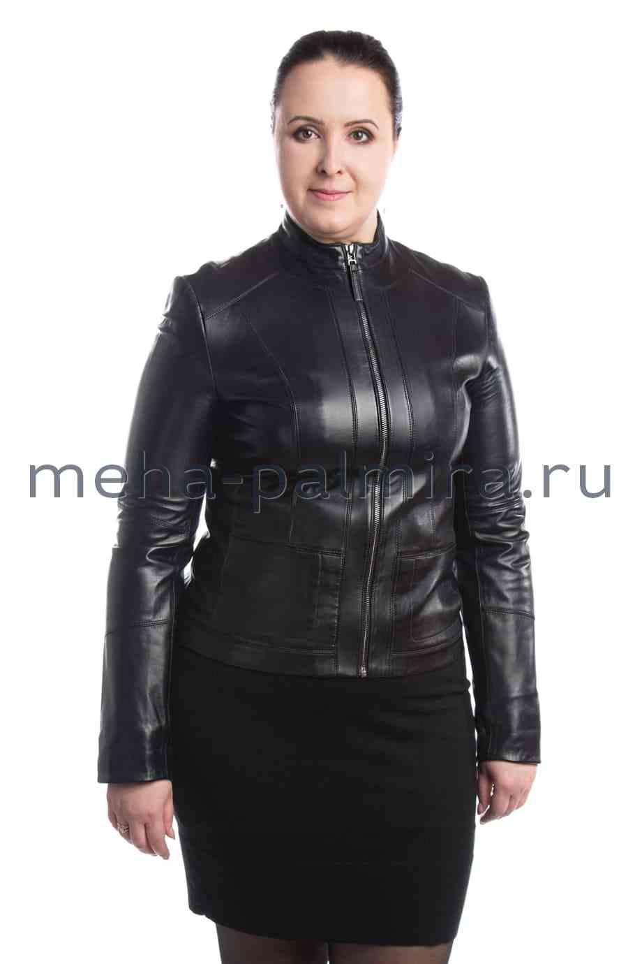 Кожаная куртка для женщин, воротник стойка