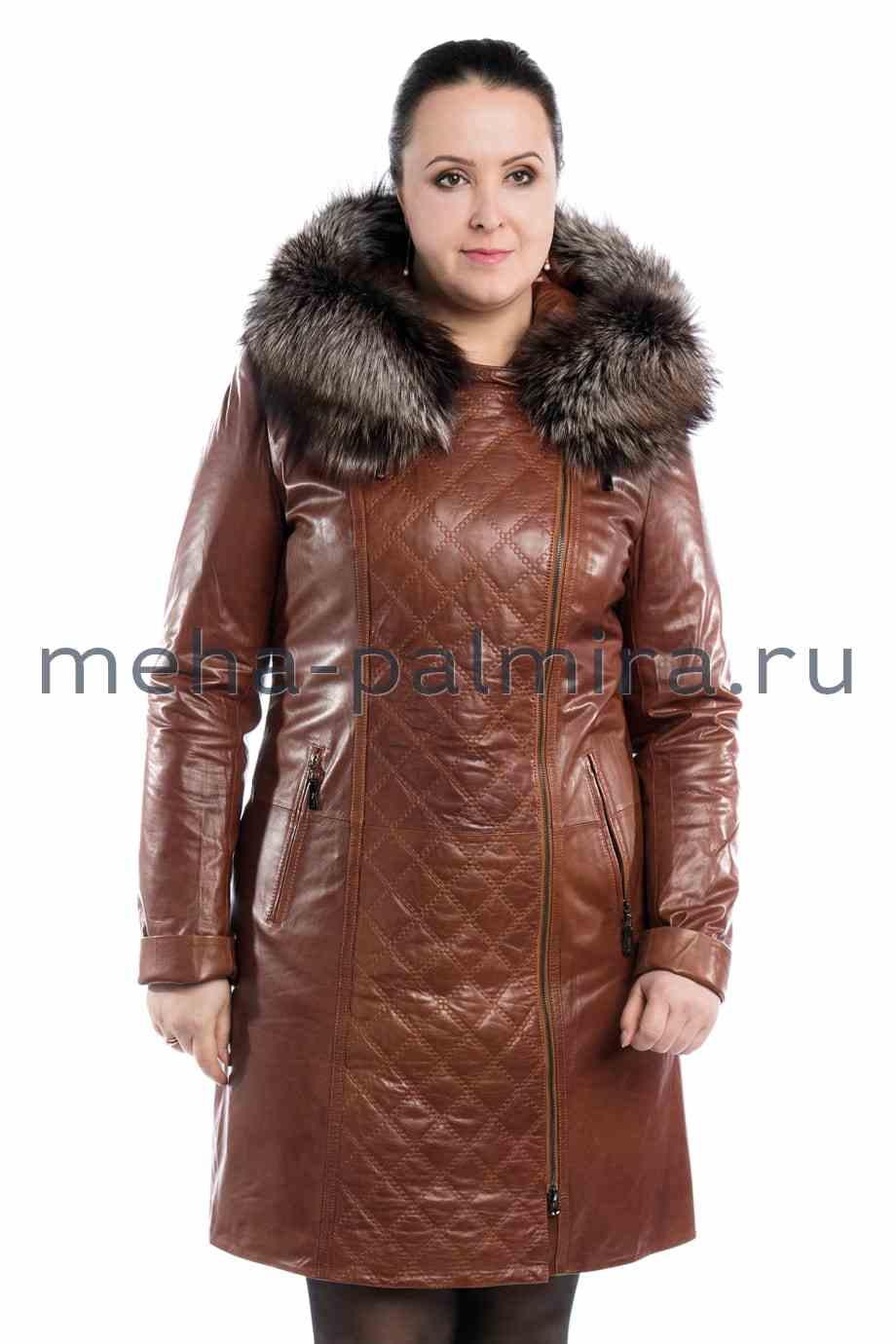 Женский кожаный плащ на молнии, по капюшону мех лиса