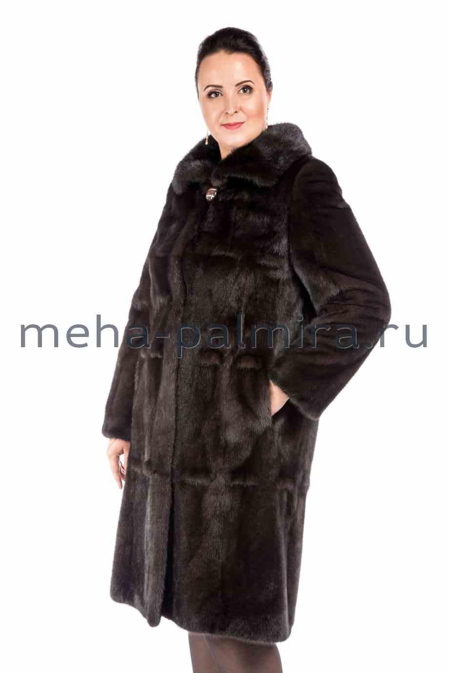 Норковая шуба с воротником - апаш, длина 110 см.