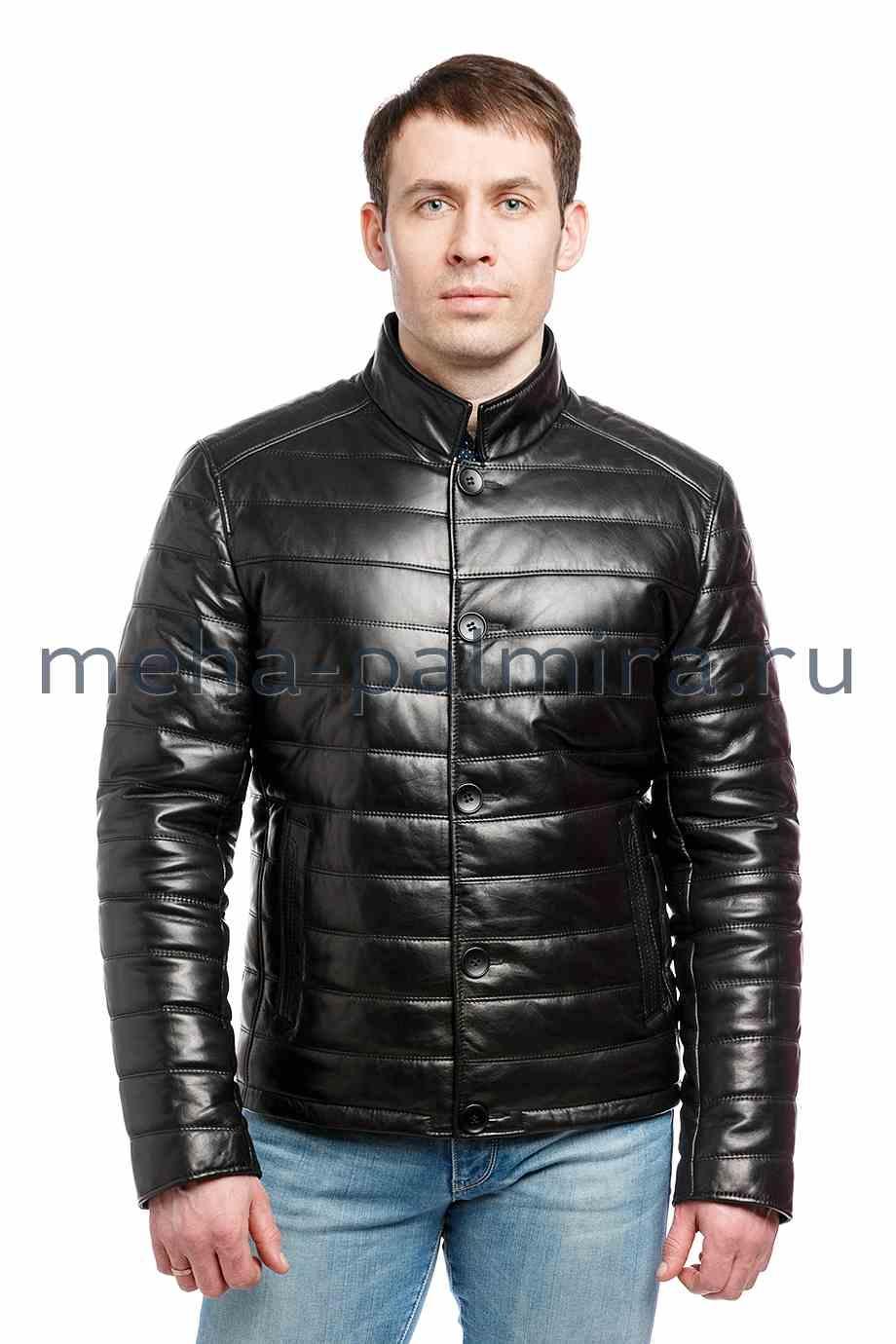 Утеплённая кожаная куртка на пуговицах