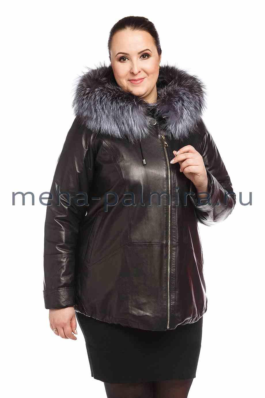 Утепленная женская куртка с капюшоном, мех чернобурки