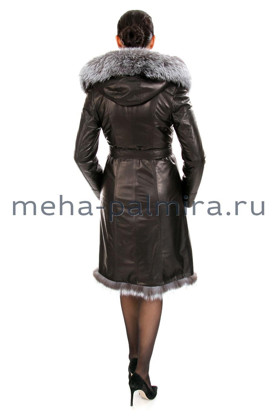 Женская дубленка из натуральной кожи и овчины, капюшон оформлен мехом лисы