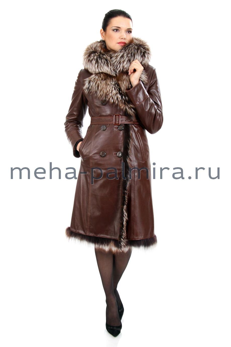 Дубленка кожаная с чернобуркой, цвет коричневый