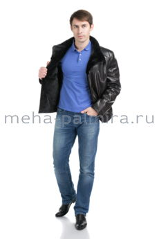 Мужская дубленка со стойкой из меха норки, цвет черный