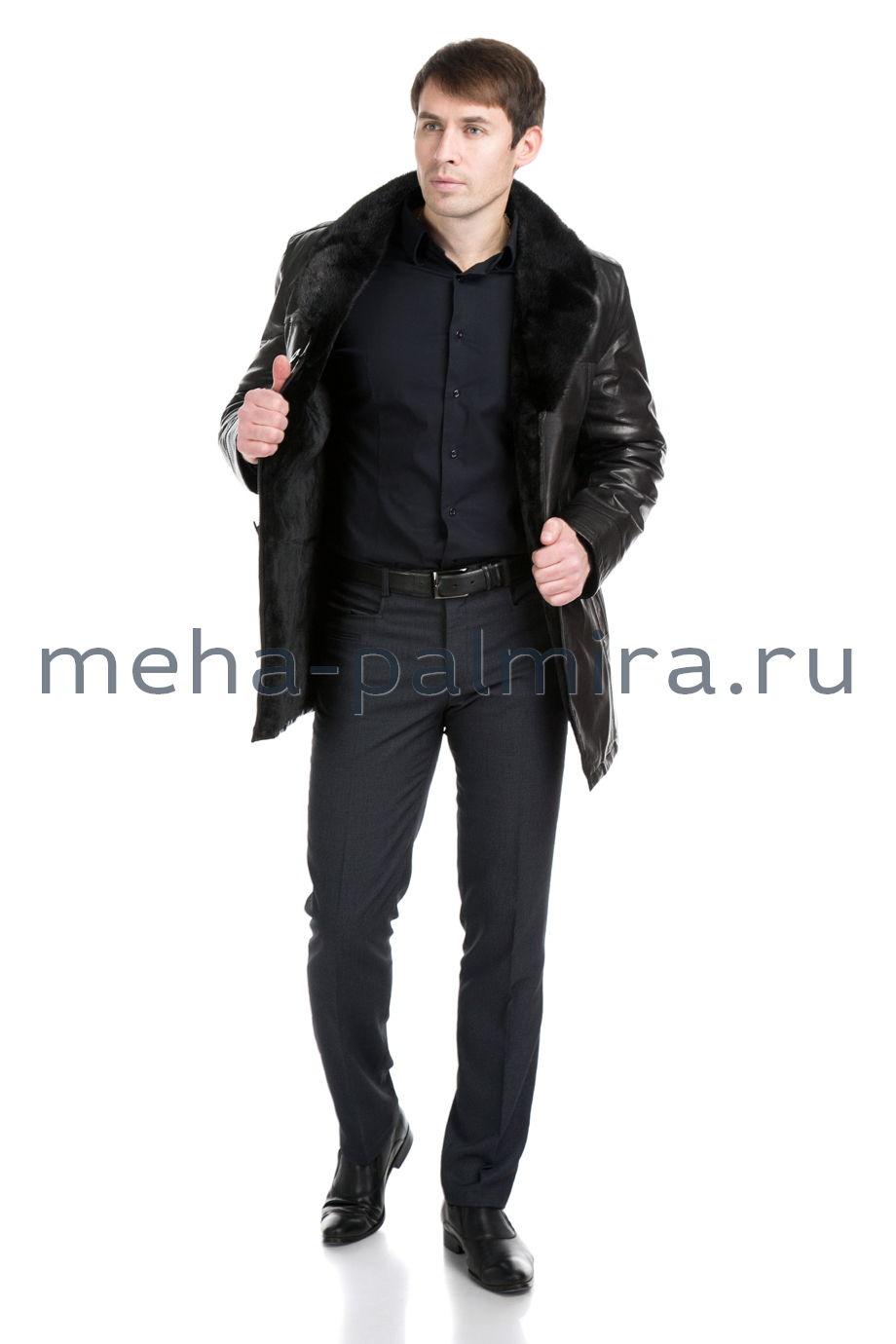 Черная мужская дубленка на овчине, воротник из меха норки