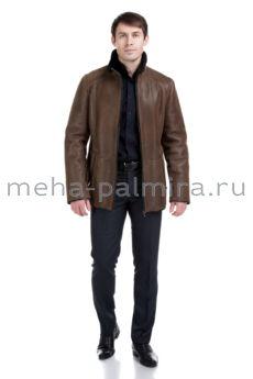 Мужская дубленка из дубленой кожи с покрытием, коричневая