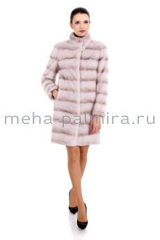Норковая шуба поперечная со стойкой, цвет фламинго