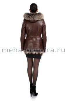 Коричневая зимняя кожаная куртка с капюшоном