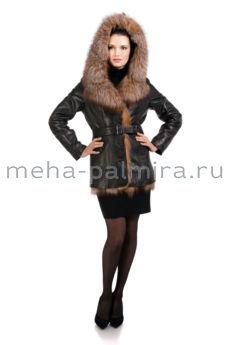 Кожаная куртка на кролике, отделка - мех лисы