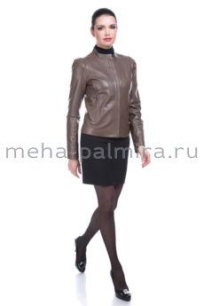 Женская кожаная куртка для весны, цвет капучино