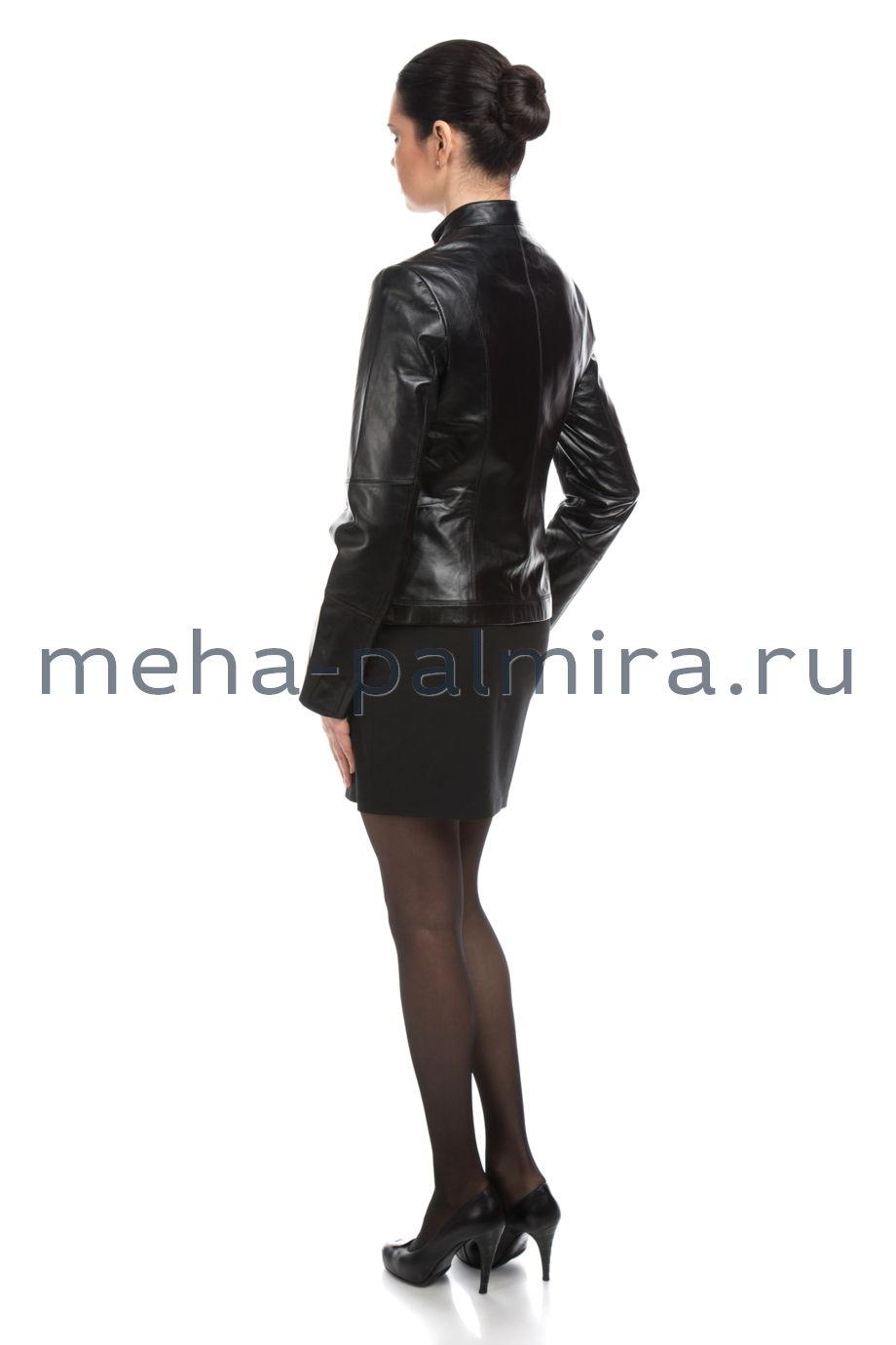 Кожаная куртка с накладными карманами, чёрный цвет