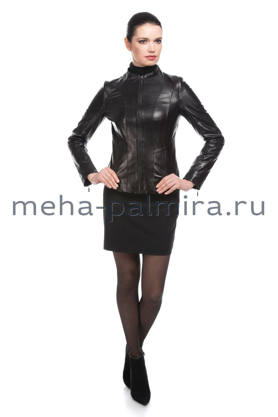 Укороченная черная куртка на молнии из натуральной кожи