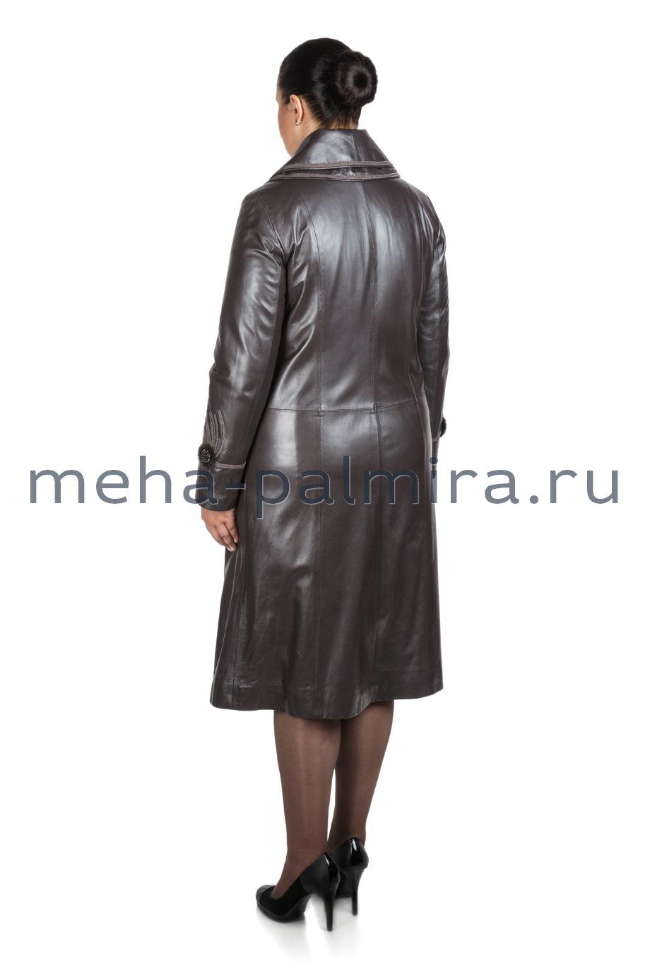 Демисезонное кожаное пальто на пуговицах, цвет капучино