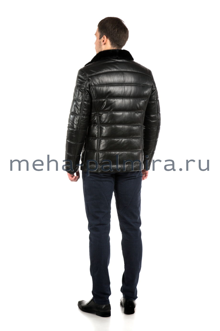 Мужской кожаный пуховик, воротник норка, цвет черный