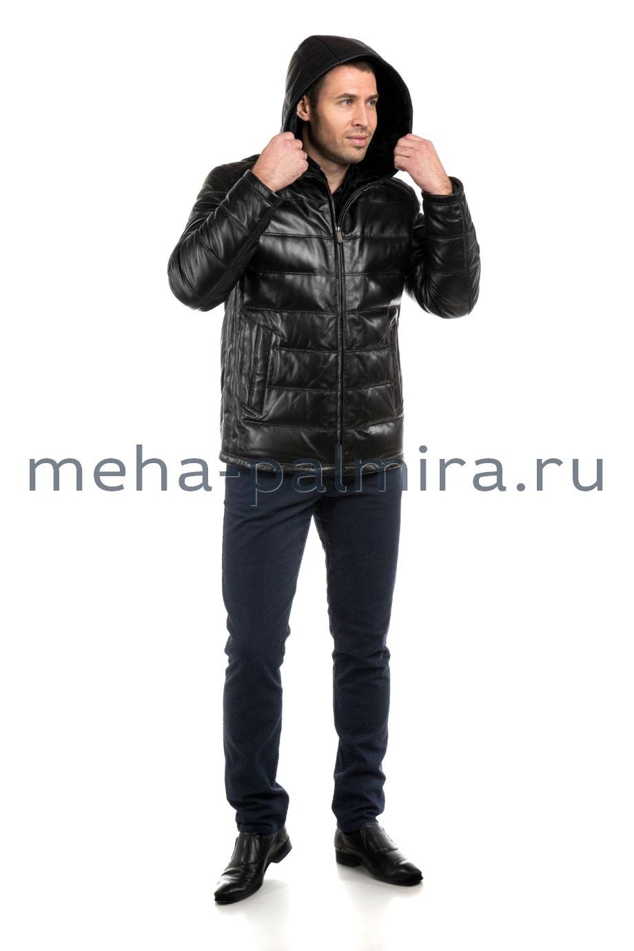 Кожаный пуховик с капюшоном на молнии, чёрный