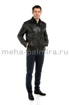 Мужская коричневая кожаная куртка на молнии, воротник съёмный, Италия
