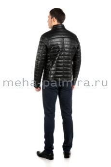 Утепленная мужская кожаная куртка на тинсулейте черного цвета