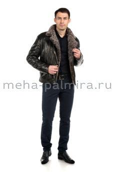 Мужская косуха из кожи на овчине,  воротник барашек, цвет черный