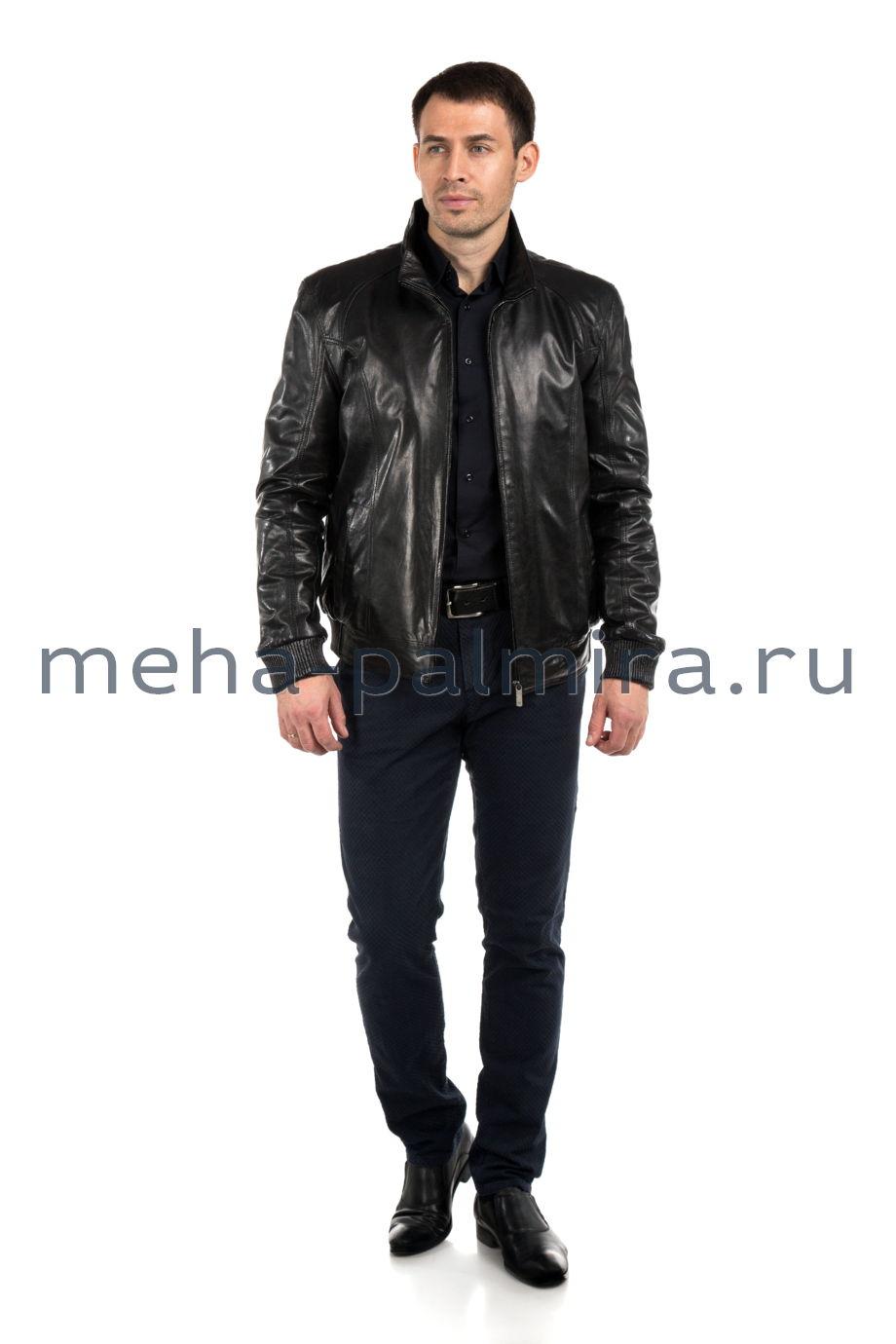 Кожаная куртка мужская на резинке, черного цвета