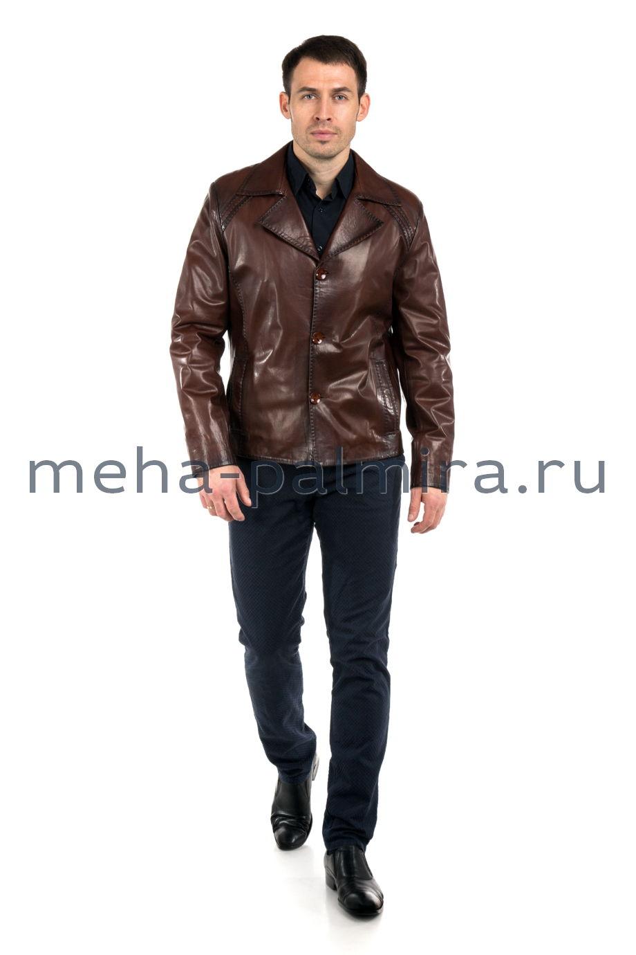 Мужская кожаная куртка с английским воротником, цвет коньяк