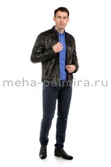 Дизайнерская мужская кожаная куртка на молнии