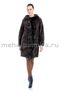 Модная шуба из норки деграде, темно - сливового цвета