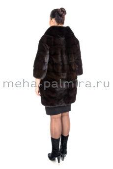 Шуба норковая  Шанель, коричневая, рукав три четверти