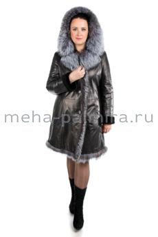 Дубленка женская из кожи на овчине, отделка капюшона мех лисы
