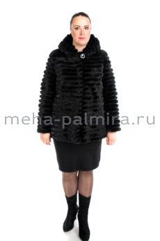 Облегченная норковая шуба с капюшоном, цвет черный