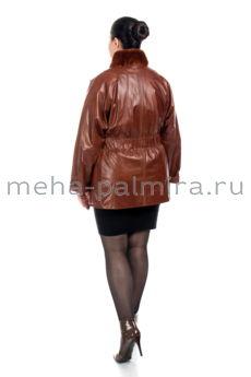 Кожаная куртка с воротником-стойкой из кролика, рыжая