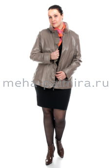 Кожаная куртка на молнии с норковым воротником-стойкой, цвет бежевый