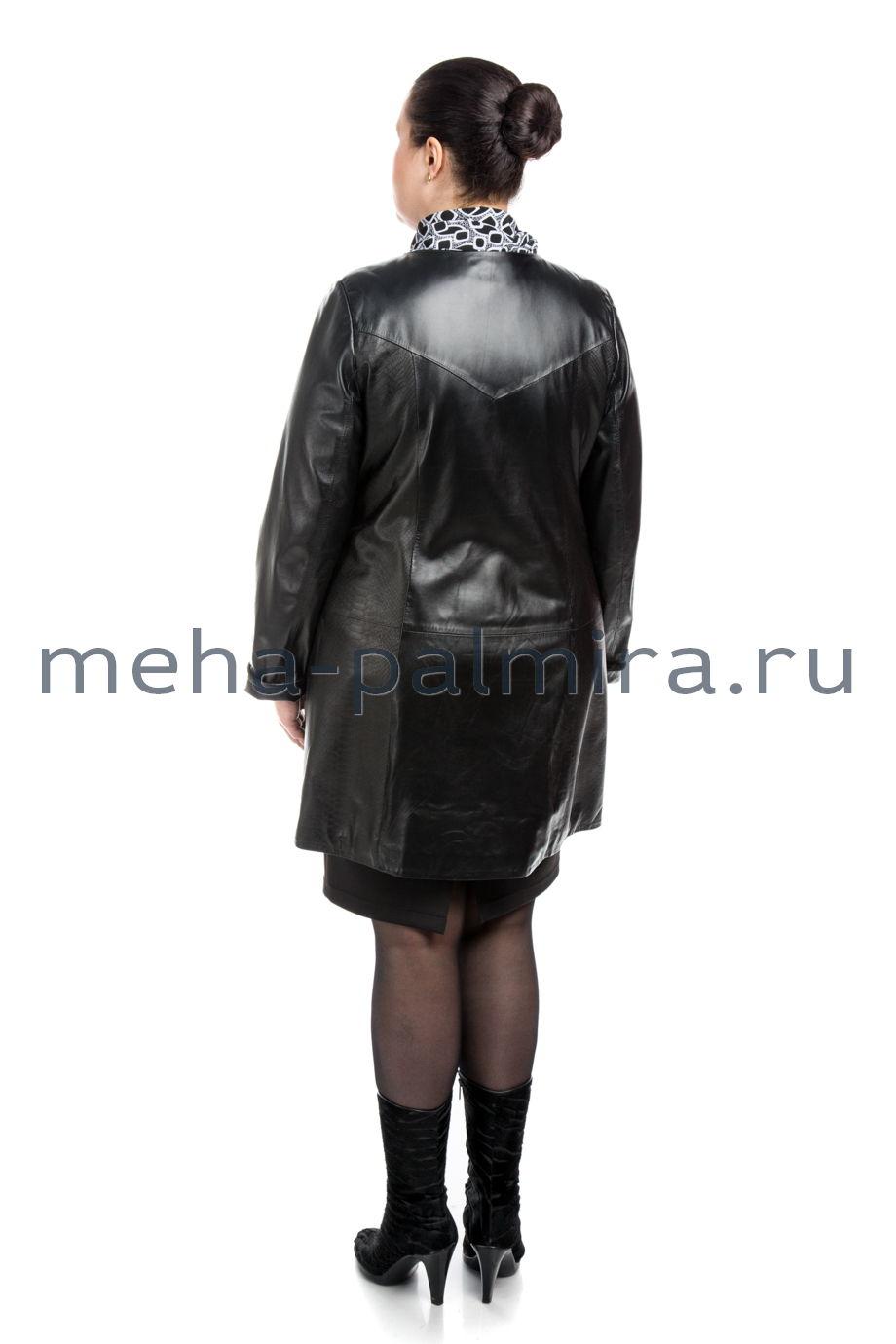 Стильный кожаный женский плащ на пуговицах, длина 90 см