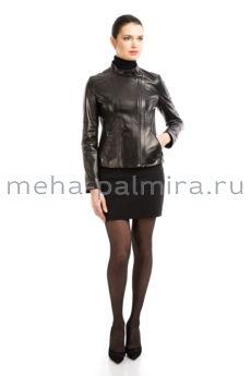 Приталенная кожаная куртка на молнии, воротник стойка