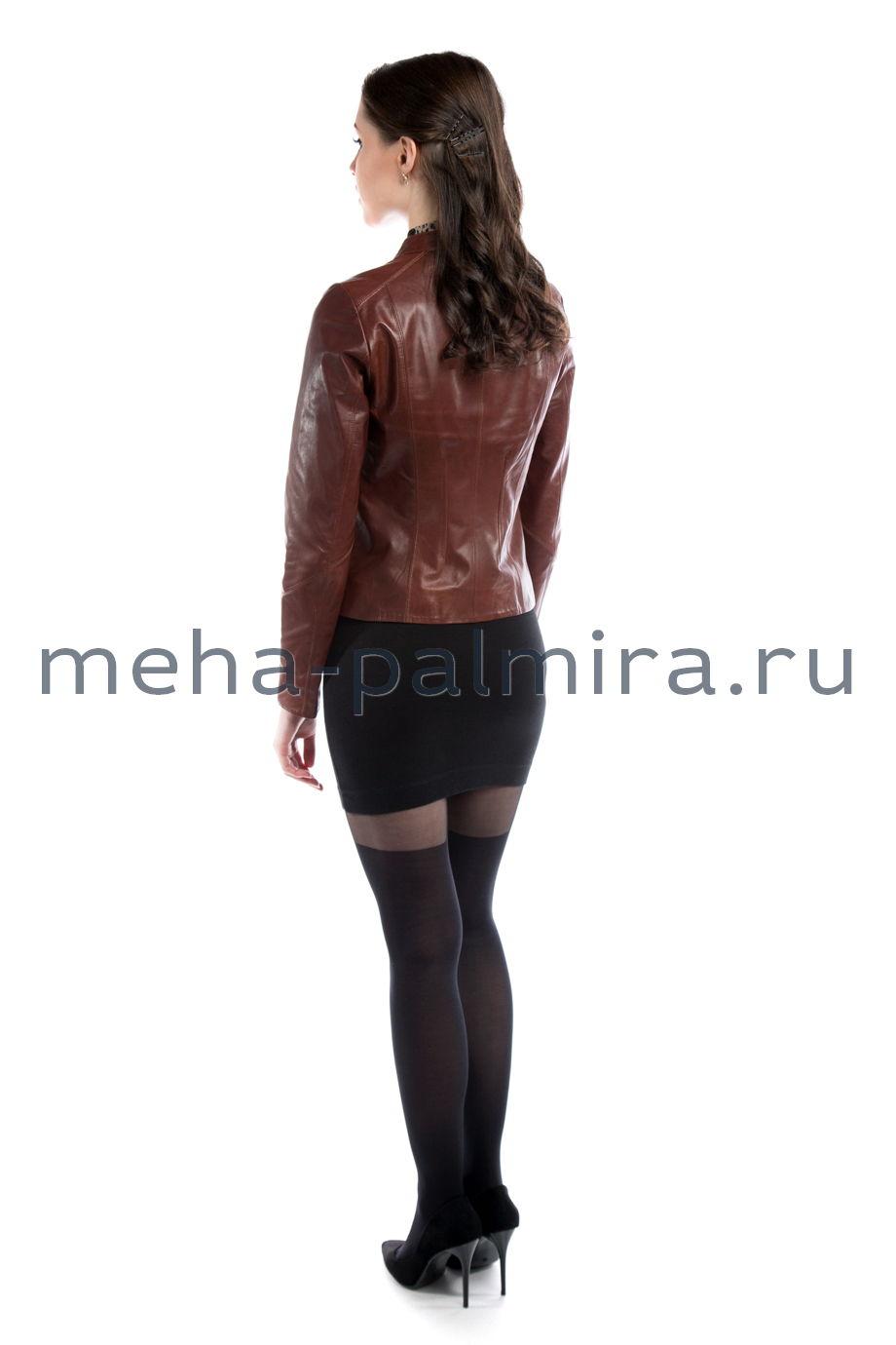 Кожаная куртка на молнии, цвет коричневый