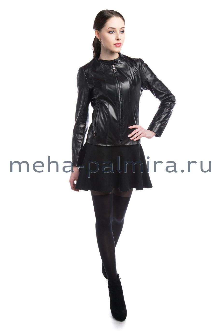 Куртка из чёрной кожи, воротник шанель