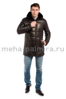 Пуховик из натуральной кожи для мужчин