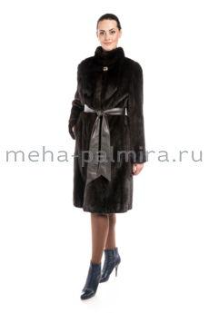 Норковая шуба махагон, длина 110 см