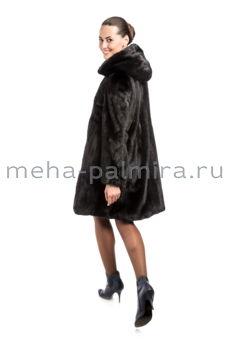 Балетка с капюшоном из меха норки чёрного цвета