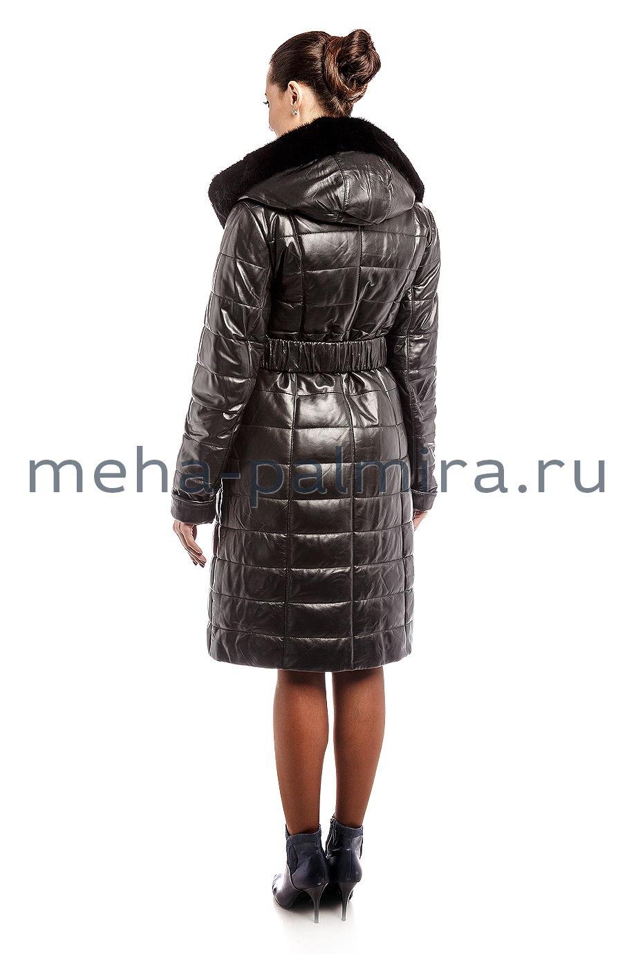 Пуховое пальто из натуральной кожи с мехом норки