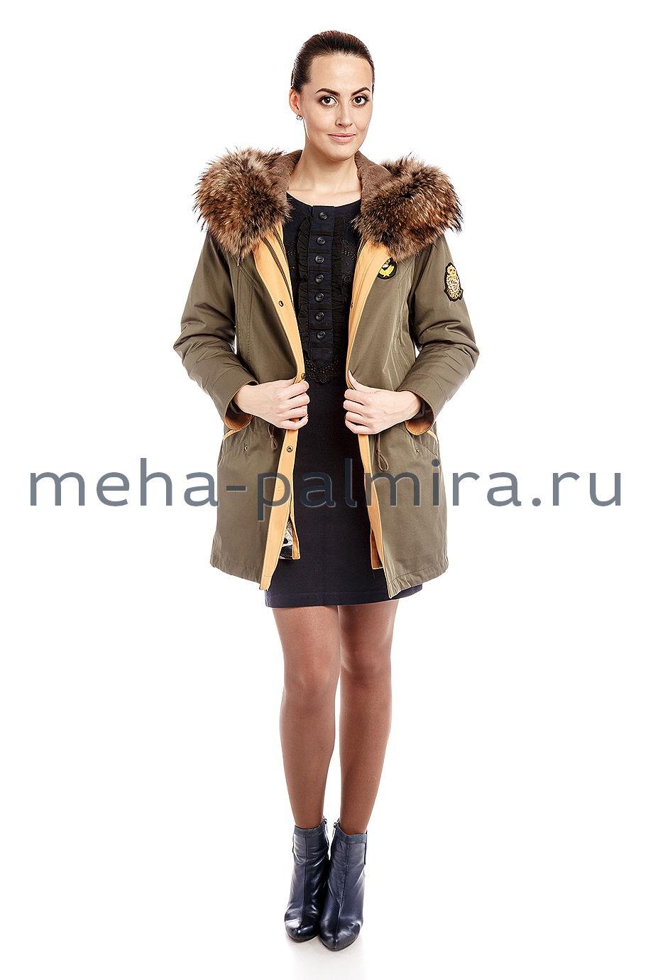 Парка - куртка с капюшоном из меха енота