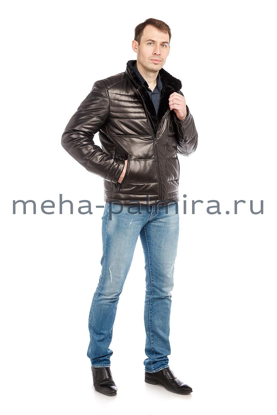 Мужской пуховик - косуха из натуральной кожи, черный
